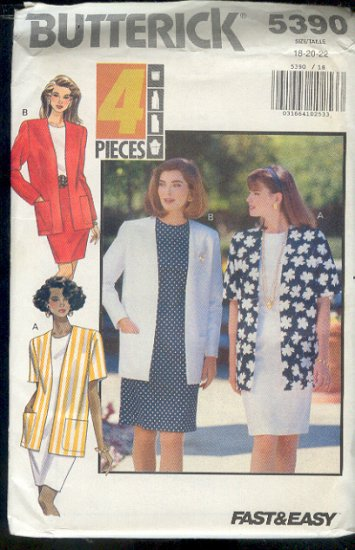 Butterick Sewing Pattern 5390 Four Piece Jacket, Size 18 -22