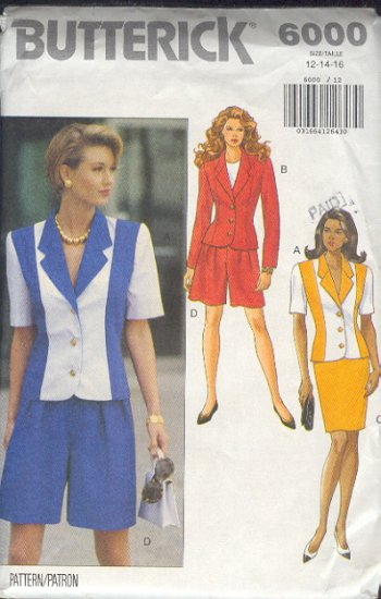 Butterick Sewing Pattern 6000 Jacket, Skirt and Shorts