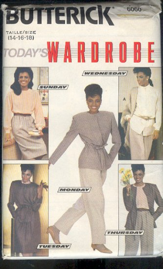 Butterick Sewing Pattern 6060 Blouse, Jacket, Skirts and Pants, Size 14 - 18