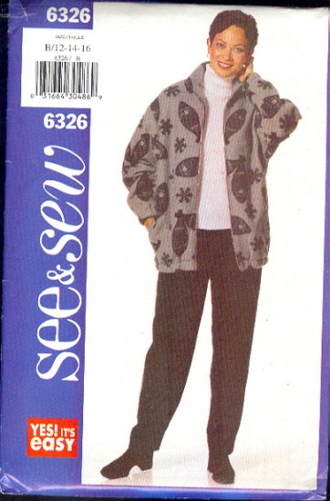 Butterick Sewing Pattern 6326 Zip Front Jacket and Pants, great for fleece  Size 12- 16