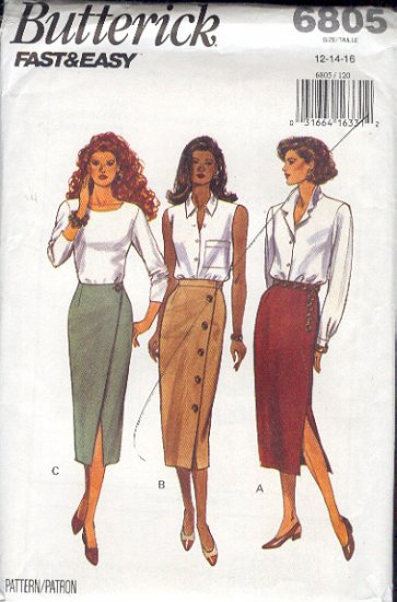 Butterick Sewing Pattern 6805 Three Skirts, Sizes 12 - 16