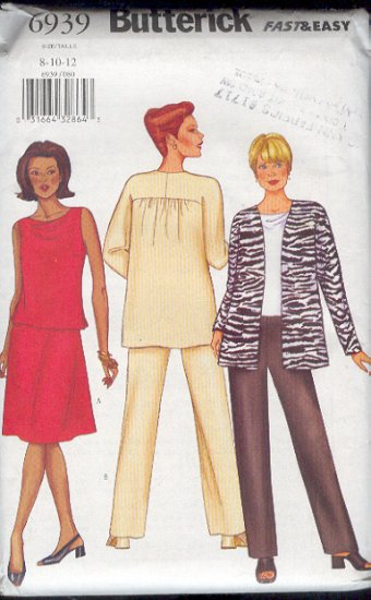 Butterick Sewing Pattern 6939 Jacket, Top, Skirt and Pants, Size 8 - 12