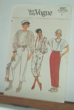 Vogue Sewing Pattern 9227 Pants, size 6