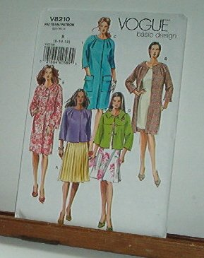 Vogue Sewing Pattern 8210 Unlined Jacket and Coat, Sizes 8 10 12