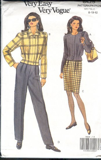 Vogue Sewing Pattern 8428 Pleated Waist jacket, skirt and pants, ize 8 10 12