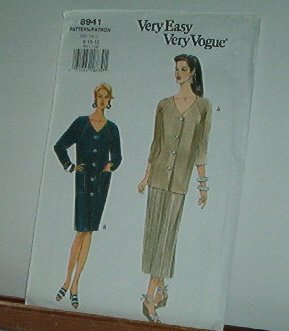Vogue Sewing Pattern 8941 Dress, Skirt and Jacket/Tunic, Size 8 10 12