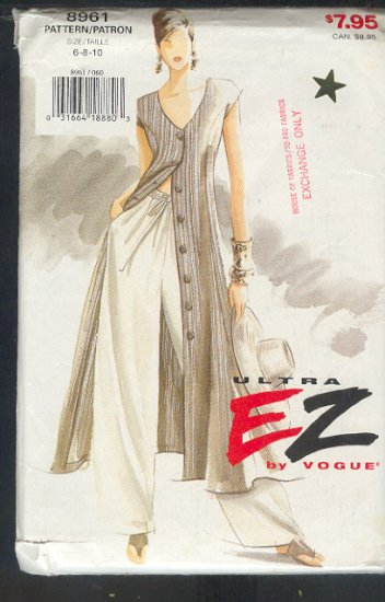 Vogue Sewing Pattern 8961 Dress / Duster and Wide leg Pant, Size 6 8 10