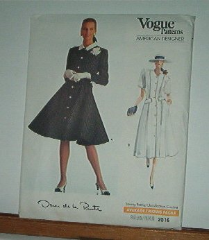 Vogue Sewing Pattern 2016 Oscar de la Renta Dress size 12 14 16
