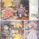 "Vogue Sewing Pattern 2592, Baby Doll Clothes for 13"" and 18/20"" dolls,"