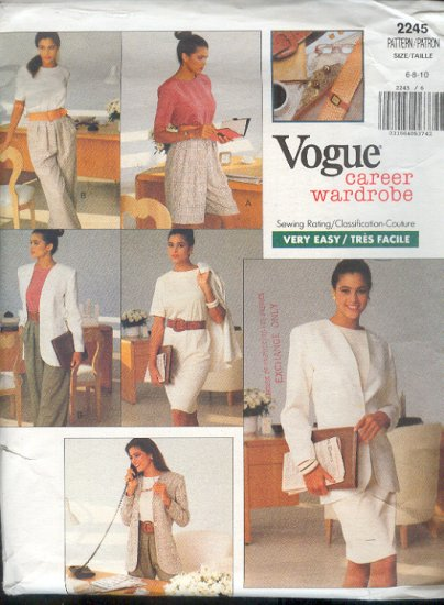 Vogue Sewing Pattern 2245 Top, Pants, Shorts, Jacket, Dress and skirt, Size 6 8 10