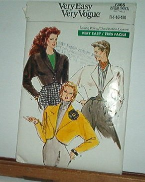 Vogue Sewing Pattern 7365 Unlined Jacket, Batwing sleeves, Size 14 16 18