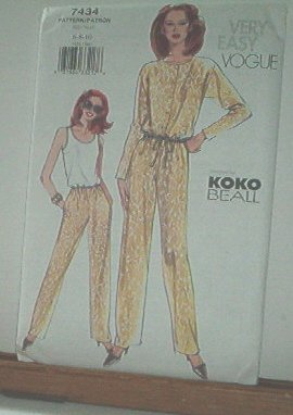 Vogue Sewing Pattern 7434 Pants, Blasoon blouse and tank top by Koko Beall, Size 6 8 10