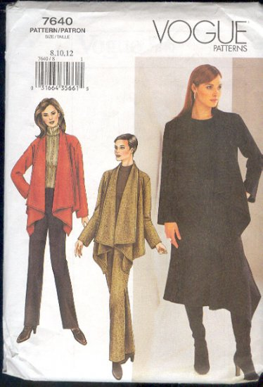 Vogue Sewing Pattern,  7640 Jacket, Pants and Skirt, Size 8 10 12