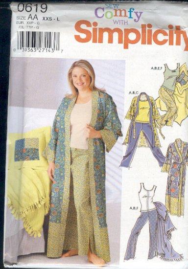 Simplicity Sewing Pattern Gorn, Pajamas, Robe, Sizes 4 - 20