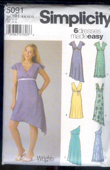 Simplicity Sewing Pattern 5091 Dress with six neck and hem variations, Sizes 6 - 12