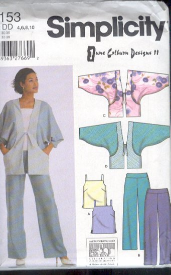 Simplicity Sewing Pattern 5153 June Colburn Designs Asian jacket, camisole and pants, Sizes 4 - 10