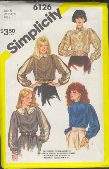 Simplicity Sewing Pattern 6126 Handsome Blouses, Size 8 10 12
