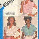 Simiplicity Sewing Pattern 6438 Three Summer blouses, Size 10 12 14