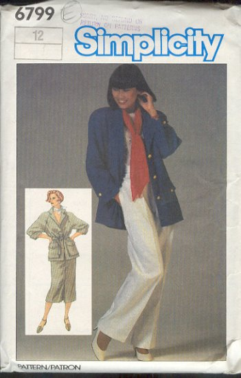 Simplicity Sewing Pattern 6799 Unlined Jacket, pants and skirt,  Sizes 12
