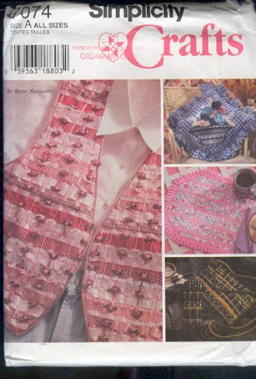 Simplicity Sewing Pattern 7074 Vest, Placemat, Purse, glass case, Pillow, Ribbon weaving,