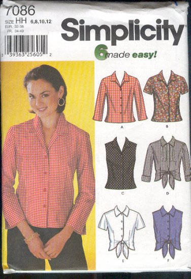 Simplicity Sewing Pattern Blouse with six variations, Sizes 6 - 12