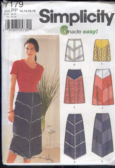 Simplicity Sewing Pattern 7179 Skirt, six versions, Sizes 12 - 18