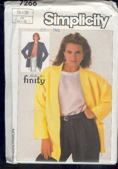 Simplicity Sewing Pattern 7255 Handsome Jacket, Size 18 20