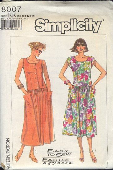 Simplicity Sewing Pattern 8007 Drop waist dress in sizes 8 - 14