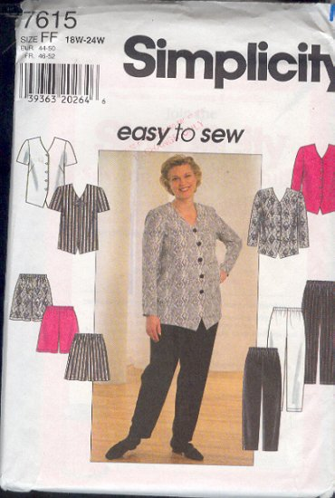 Simplicity Sewing Pattern 7615 Top, jacket, shirts and pants Size 7615