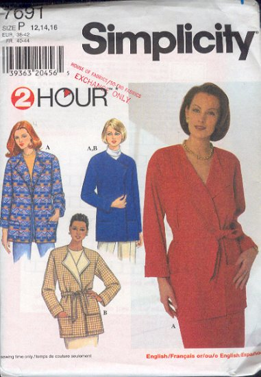 Simplicity Sewing Pattern 7691 Jacket, four versions, Size 12 14 16