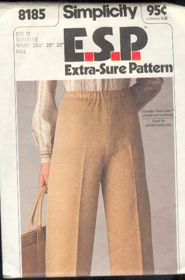 Simplicity Sewing Pattern 8185 Pants, Waist 26  - 30""