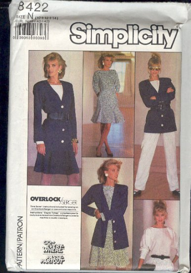Simplicity Sewing Pattern 8422 Jacket, Pants and Skirt with gores and gussets, Size 6-10