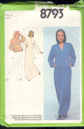 Simplicity Sewing Pattern 8793 Hoody and Lounge dress, Size 12