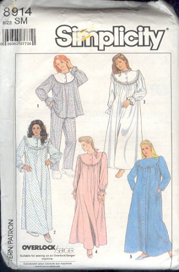 Simplicity Sewing Pattern 8914 Pajamas, Nightgown, Robe Size 6-8