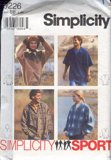 Simplicity Sewing Pattern 9226 Pullover shirt good for fleece, Size 42 - 48