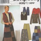 Simplicity Sewing Pattern 9328 Color Blocked skirt, top and wesket vest, Size 8 - 14