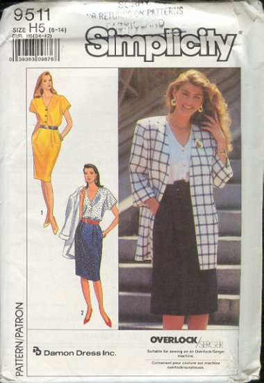 Simplicity Sewing Pattern 9511 Dress and Jacket, Sizes 8 - 14
