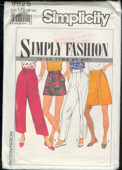 Simplicity Sewing Pattern 9625 Pants and Shorts, Sizes 16 - 24