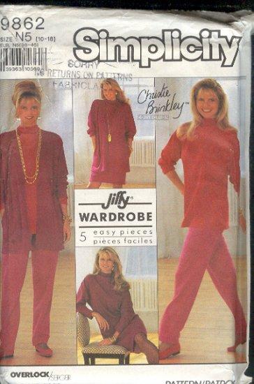 Simplicity Sewing Pattern 9862 Christie Brinkley, 5 Piece Wardrobe, Size 10 - 18