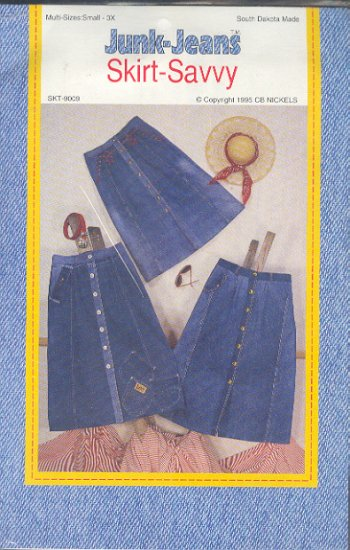 Sewing Pattern Jump-Jeans Skirt Savvy, takes 2 - 3 pair of old jeans or fabric, Sizes 8 - 3X