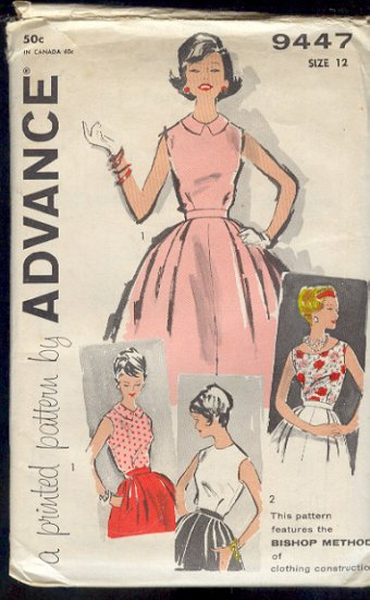 Vintage Sewing Pattern, Advance 9447 Blouse and full skirt, Size 12