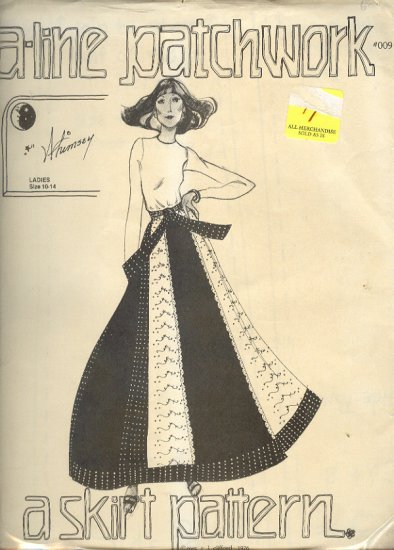 Sewing Pattern, A Line Patchwork, 009, Skirt, sizes 10 - 14