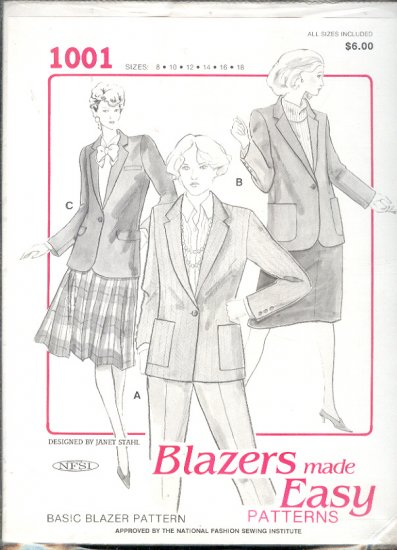 Sewing Pattern, Blazers Made Ease 1001, by Janet Stahl for NESI, sizes 8 - 18
