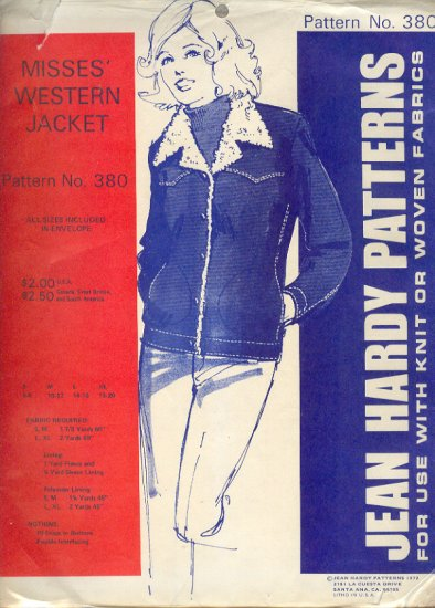 Sewing Pattern, Jean Hardy Patterns 380, Western Jacket, Sizes 6 - 20