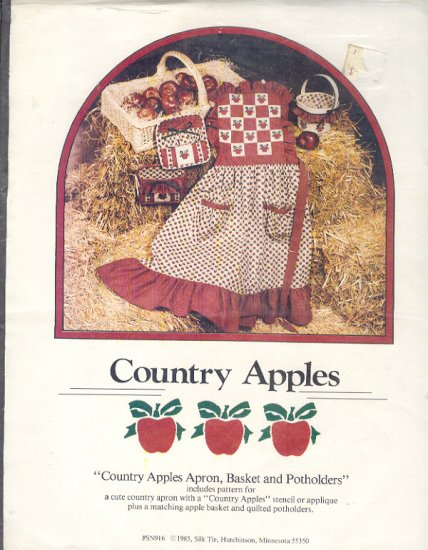 Sewing Pattern, Country Apples, Apron, Basket Liner, Potholders, stencil/applique designs, one size