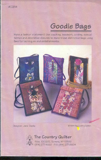 Sewing Pattern, Country Quilter, Goodie Bags, About 8 X 6 inches