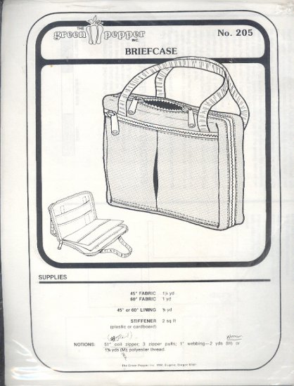 Sewing Pattern, Green Pepper 205, Briefcase, One size