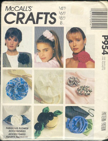 McCall's Sewing Pattern P954, Flowers and Hair Accessories, One Size