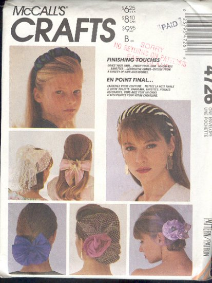 Sewing Pattern 4726 Hair bands, flowers, nets, pretty, One Size