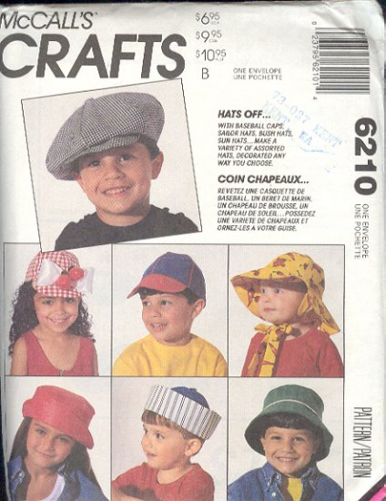 McCall's Sewing Pattern 6210, Children's Hats, all sizes included, 15 styles